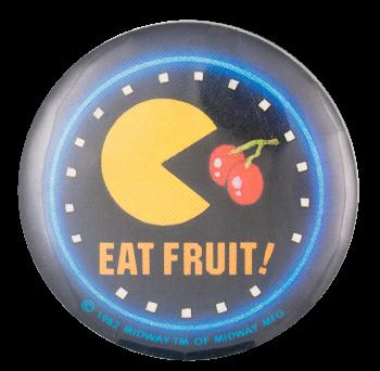 Pac Man Eat Fruit Entertainment Button Museum
