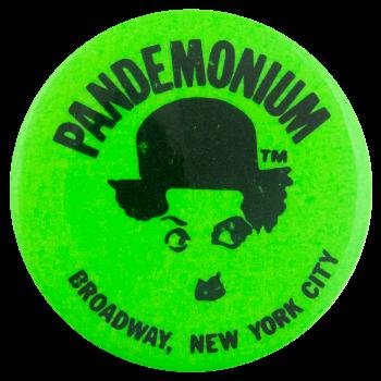 Pandemonium Green Advertising Button Museum