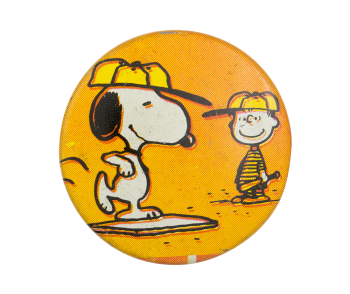 Snoopy and Linus Playing Baseball Entertainment Button Museum