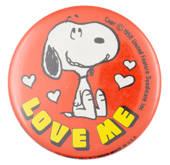 Snoopy Love Me Entertainment Button Museum