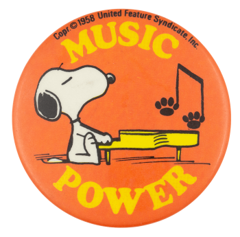 Snoopy Music Power Entertainment Busy Beaver Button Museum