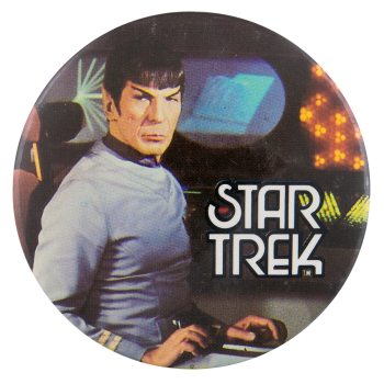 Spock Sitting Star Trek Entertainment Button Museum