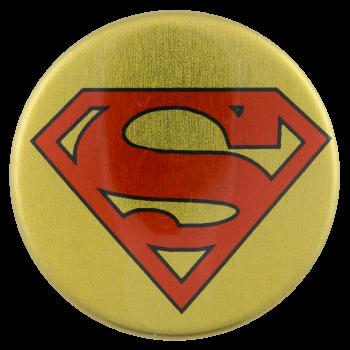 Superman Gold Entertainment Button Museum