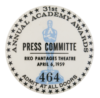 31st Academy Awards Press Events Button Museum