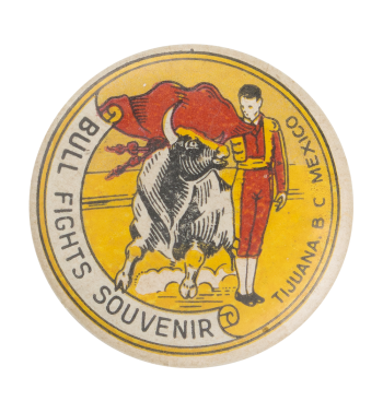 Bull Fights Souvenir Event Button Museum