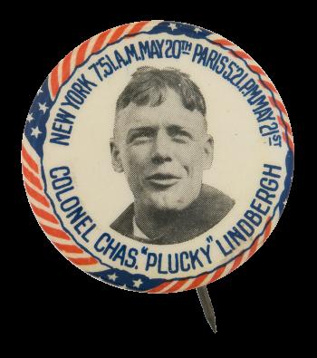 Charles Lindbergh Transatlantic Flight  Events Button Museum