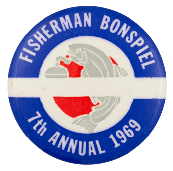 Fisherman Bonspiel Event Button Museum
