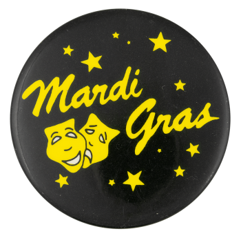Mardis Gras Yellow and Black Event Button Museum