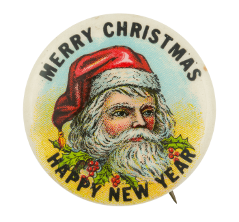 Merry Christmas Happy New Year Event Button Museum