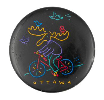 Ottawa Moose on a Bicycle Event Button Museum