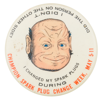 Spark Plug Two Face Event Button Museum
