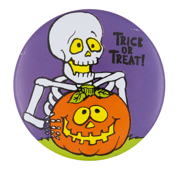 Trick Or Treat Skeleton Event Button Museum