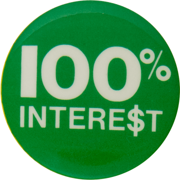 100 Percent Interest Humorous Busy Beaver Button Museum