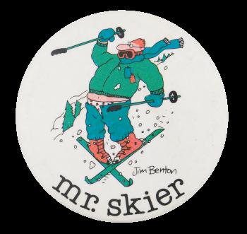 Jim Benton Mr. Skier Humorous Button Museum