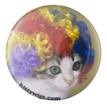 Kitty Wigs Rainbow Humorous Button Museum
