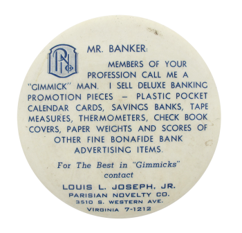 Parisian Novelty Company Mr. Banker Innovative Button Museum