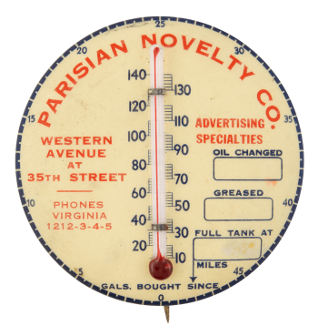 Parisian Novelty Company Thermometer Innovative Button Museum