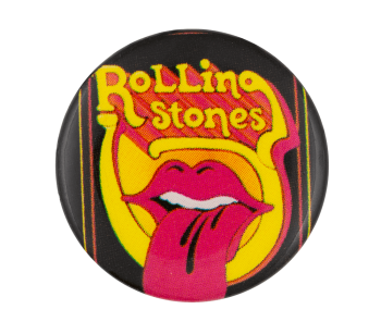 Rolling Stones Mouth on Yellow Music Button Museum