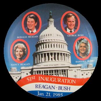 51st Inauguration Reagan Bush Political Button Museum