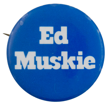Ed Muskie Blue Political Busy Beaver Button Museum