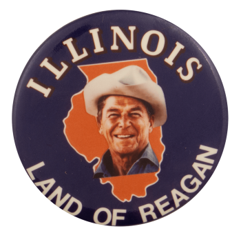 Illinois Land of Reagan Cowboy Hat Political Busy Beaver Button Museum