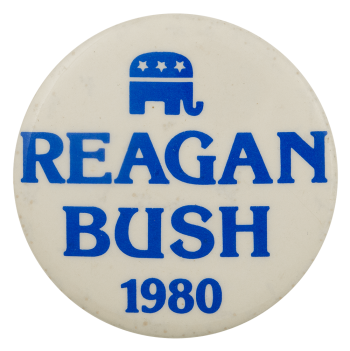 Reagan Bush 1980 Elephant Political Busy Beaver Button Museum