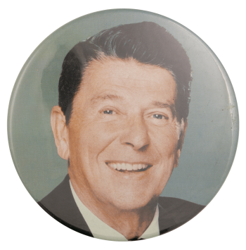 Reagan Photo Blue Political Busy Beaver Button Museum