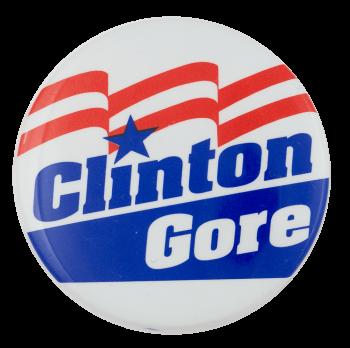 Clinton Gore Flag Political Busy Beaver Button Museum
