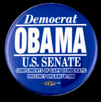 Democrat Obama US Senate Political Busy Beaver Button Museum
