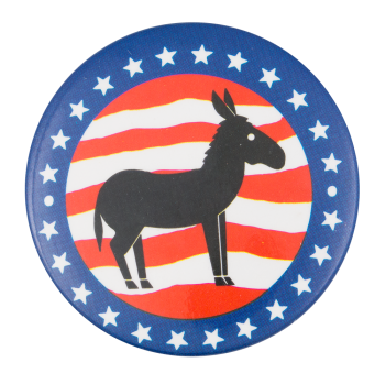Donkey with Stars and Stripes Political Button Museum