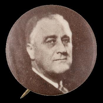 Franklin D. Roosevelt Black and White Portrait Political Button Museum