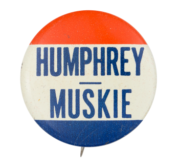 Humphrey Muskie Dark Blue Political Button Musuem