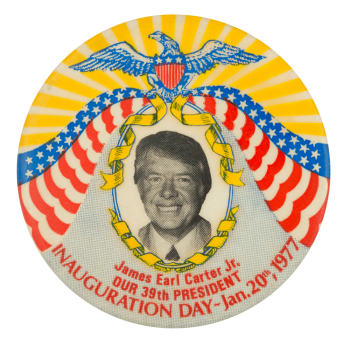 Jimmy Carter Inauguration Yellow & Grey Political Button Museum