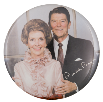 Nancy and Ronald Reagan Color Portrait Political Button Museum