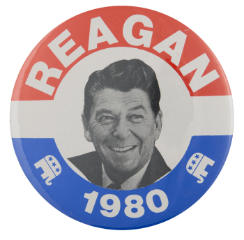 Reagan 1980 Political Busy Beaver Button Museum
