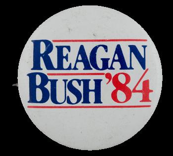 Reagan Bush 84 Big Political Busy Beaver Button Museum