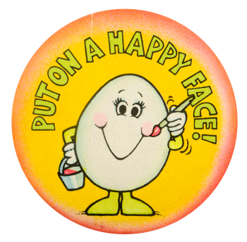 Egg Put On A Happy Face Ice Breakers Busy Beaver Button Museum
