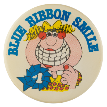 Blue Ribbon Smile Ice Breakers Button Museum