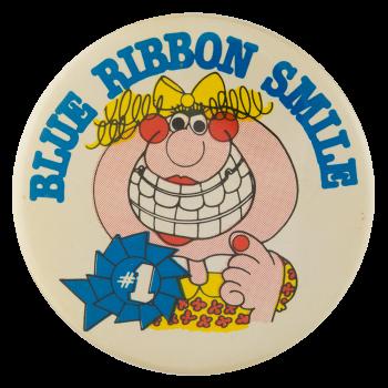 Blue Ribbon Smile Social Lubricators Button Museum