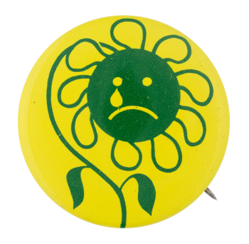 Sad Green Flower Smileys Button Museum