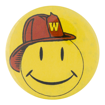 Walmart Smiley in Firehat Smileys Button Museum