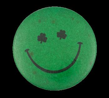 Green Glitter Shamrock Eyes Smileys Button Museum