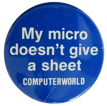 Computerworld Advertising Button Museum