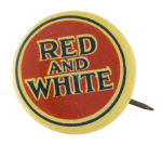 Red and White Advertising Button Museum