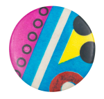 Abstract with Pink Blue and White Art Button Museum