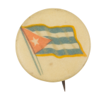 Cuba Flag on White Art Button Museum