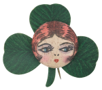 Flapper Face on Clover Art Button Museum