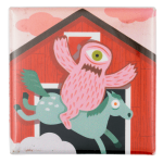 Arthur Jones Monster On Horse Art Button Museum