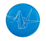 Origami Crane Blue Art Button Museum