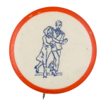 Roller Skating Couple Art Button Museum
